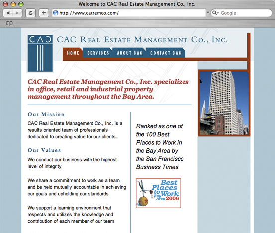 CAC Real Estate Management Co., Inc., 2006 Web Site Design