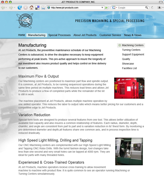 Jet Products Company, Inc., 2007 Web Site Redesign