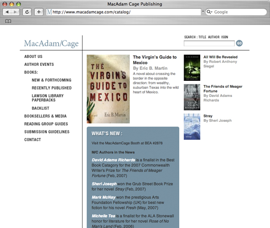 Mac Adam/Cage Publishing, Web Site Build and Catalog