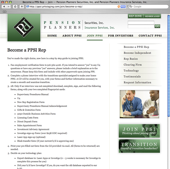 Pension Planners Securities, Inc., 2007 Web Site Redesign