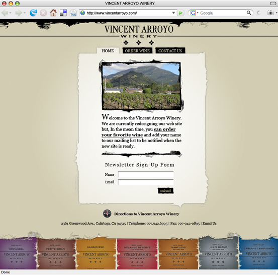 Vincent Arroyo Winery, Splash Page